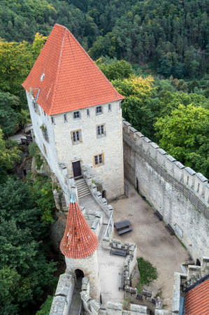 fortify: High angle view of medieval Kokorin castle.
