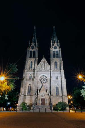 praga: Church of St. Ludmila at night, Vinohrady, Praga. Stock Photo