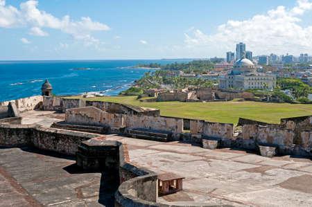 juan: Castillo de San Cristobal and Capitol building, Old San Juan, Puerto Rico. Editorial