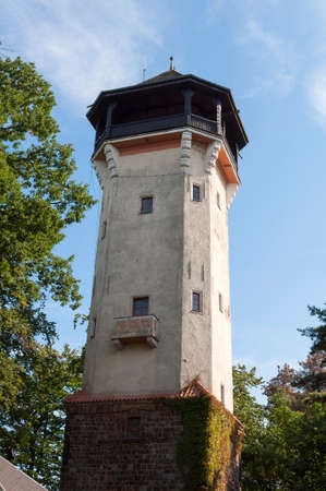 karlovy: Diana observation tower in the spa town of Karlovy Vary. Stock Photo