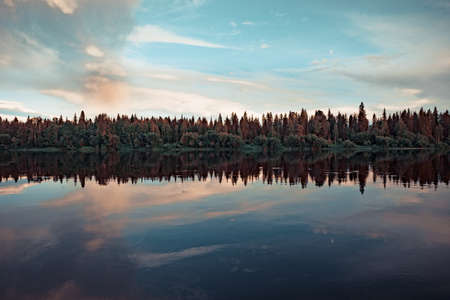 Forest river Bank at sunset with reflection in the water