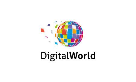 Digital World Logo Illustration