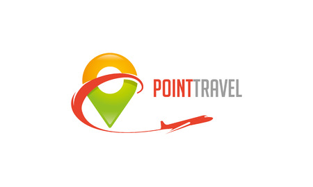 air travel: Travel Point Logo Illustration
