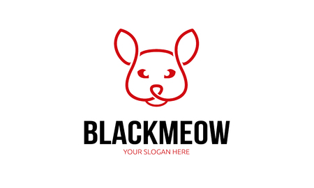 Zwart Meow Logo Stock Illustratie