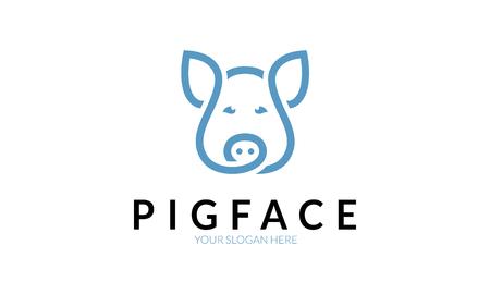 rural area: Pig Face Logo. Illustration