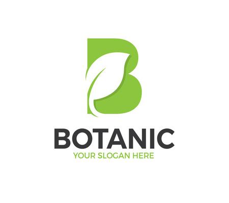 B Letter Leaf Logo Template