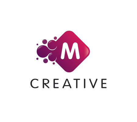 Dots Letter M Logo Illustration