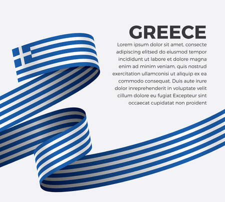 Greece flag on a white background