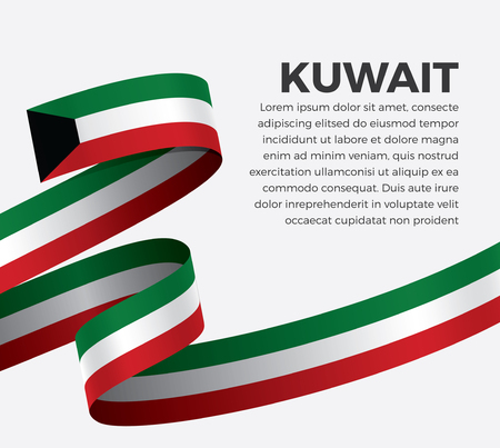 Kuwait flag on a white background Stock fotó - 112799101