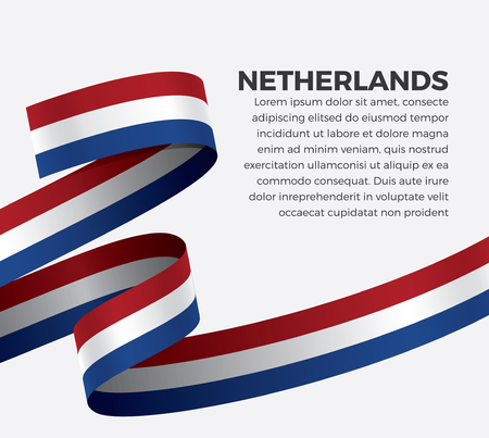 Netherlands flag, vector illustration on a white background Foto de archivo - 112799112