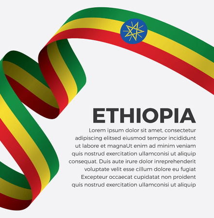 Ethiopia flag, vector illustration on a white background Stock fotó - 112799310