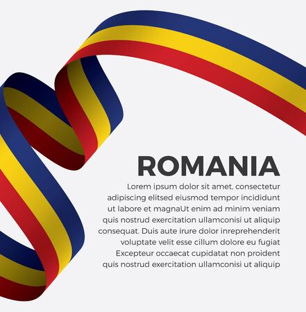 Welcome to romania symbol with flag, simple modern design on white background, illustration