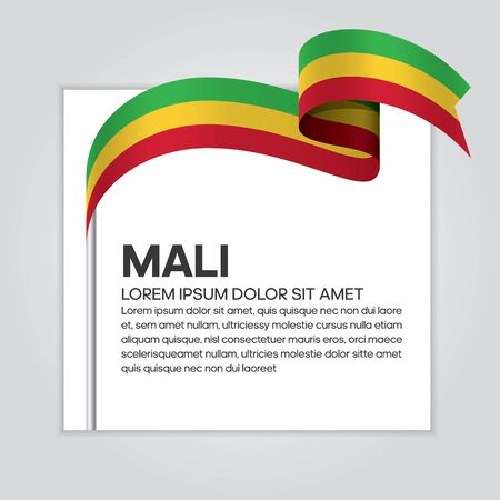 Mali flag background, simple white background, vector illustration