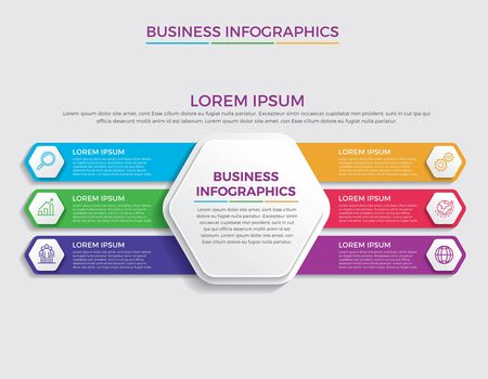 Infographic design vector and marketing icons can be used for workflow layout, diagram, annual report, web design. Business concept with 6 options, steps or processes. - Vector Vecteurs