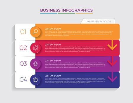 Infographic design vector and marketing icons can be used for workflow layout, diagram, annual report, web design. Business concept with 4 options, steps or processes. - Vector Vecteurs