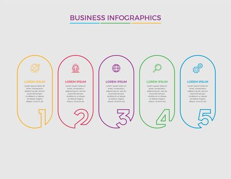 Infographic design vector and marketing icons can be used for workflow layout, diagram, annual report, web design. Business concept with 5 options, steps or processes. - Vector Vecteurs
