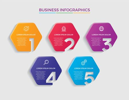 Infographic design vector and marketing icons can be used for workflow layout, diagram, annual report, web design. Business concept with 5 options, steps or processes. - Vector