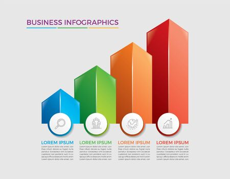Infographic design vector and marketing icons can be used for workflow layout, diagram, annual report, web design. Business concept with 4 options, steps or processes. - Vector - stock illustration