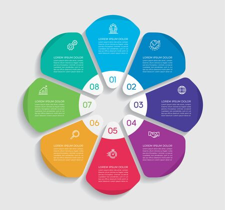 Infographic design vector and marketing icons can be used for workflow layout, diagram, annual report, web design. Business concept with 8 options, steps or processes. - Vector - stock illustration