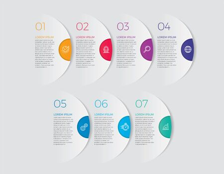 Infographic design vector and marketing icons can be used for workflow layout, diagram, annual report, web design. Business concept with 7 options, steps or processes. - Vector - stock illustration