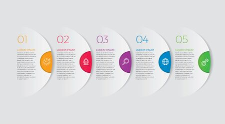 Infographic design vector and marketing icons can be used for workflow layout, diagram, annual report, web design. Business concept with 5 options, steps or processes. - Vector - stock illustration