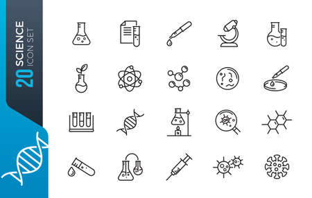 Science and Laboratory line icons Vector Icons - Adjust stroke weight - Expand to any size - Change to any color