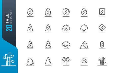 Tree Vector Line Icon Set. Contains such Icons as Wood, Plant, Pine, Cactus, Bamboo and more. Banco de Imagens - 152901028