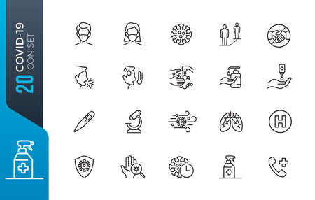 Flu icons set. Collection of linear simple web icons such as medical mask, flu virus, covid-19, symptoms, treatment, prevention, antiseptic, coronavirus infection and other Illustration