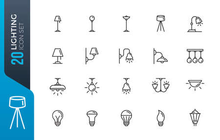 Lightning icons set. Set of loft track spots, metal pendants, wall sconce, floor lamp, torchere, lightbox, back light, ceiling chandelier, street lights isolated vector icons