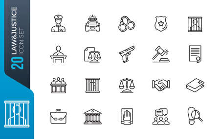 Simple Set of Law and Justice Related Vector Line Icons. Contains such Icons as Themis, Court, Police and more. Illustration