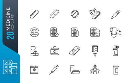 Medical drugs vector line icons. Pill, lozenge, syringe for injection, rectal suppository, pill blister. Editable Stroke. Illustration