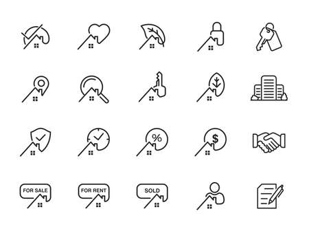 Real Estate and Homes line icons. Vector Icons - Adjust stroke weight - Expand to any size - Change to any color