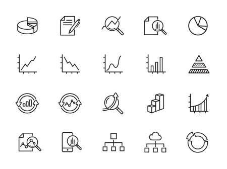 Set of Data Analysis Vector Line Icons. Outline icons collection. Simple vector illustration
