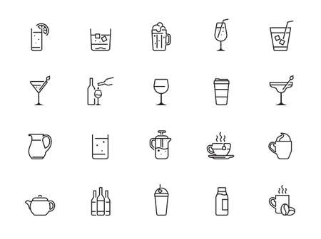 Drink and Alcohol line icons Vector Icons - Adjust stroke weight - Expand to any size - Change to any color