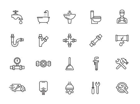 Plumbing and Sanitary Equipment Line Icons contains Toilet, Sink, Bathtub, Pipe, Water Meter and more. Editable Stroke.