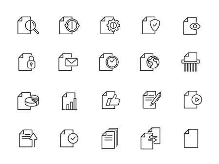 Document and File line icon set - minimal thin line web icons set Illustration