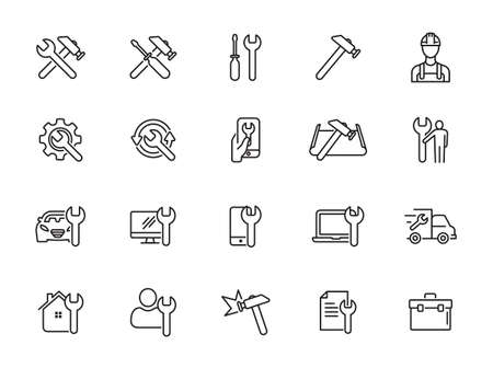 Simple Set of Repair Related Vector Line Icons. Contains such Icons as Screwdriver, Engineer, Tech Support and more Ilustração