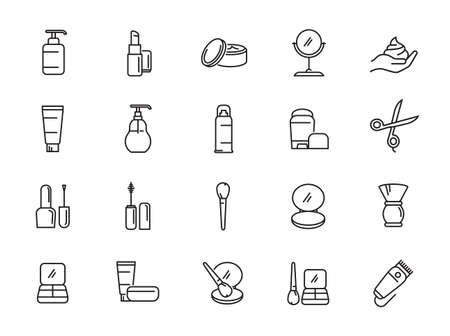 Simple Set of Cosmetics Related Vector Line Icons. Contains such Icons as Cream Bottle, Lipstick, Makeup Brush and more Illustration