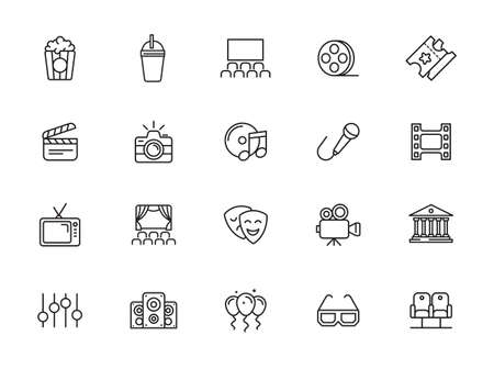 Entertainment icon set - outline icon collection, ve