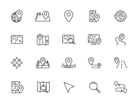 Navigation, Location and Map Line Vector Icons Set. Contains Map with a Pin, Route map, Navigator, Direction and more. Editable Stroke. Illustration