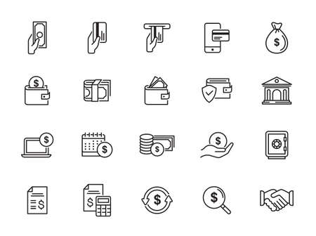 Finance and Banking Vector Line Icons Set. Contains Coins, Money and Bank Management icons .. Editable Stroke. Illustration