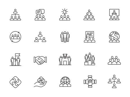 Simple Set of Team Work Related Vector Line Icons. Contains such Icons as Collaboration, Research, Meeting and more.