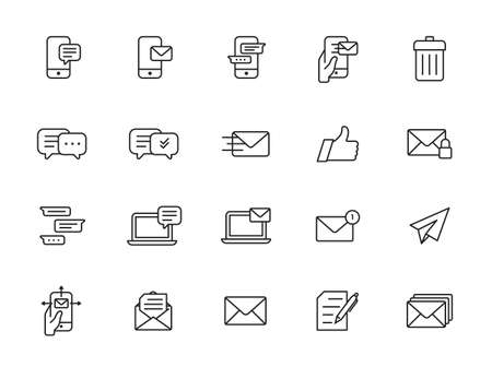 Mail and message line icon set. Included icons as email, dove, envelope, sent, post box and more. Illustration