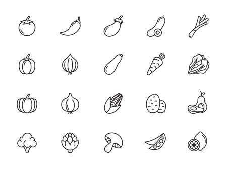 Simple set of outline icons about vegetables- minimal thin line set. Outline icons collection. Simple vector illustration.