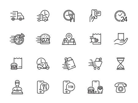Food Delivery icons set. Collection of linear simple web icons such as fast delivery, courier, home delivery, courier on a scooter and bicycle, box and bag of food, and more.