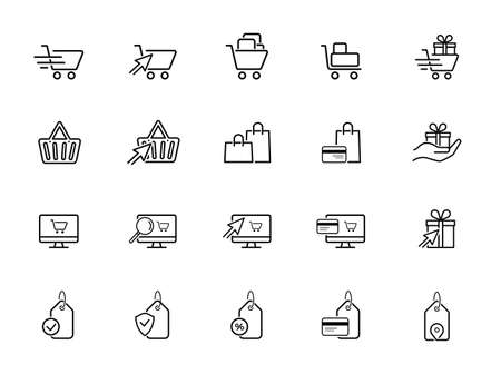 Shopping malls, retail - outline web icon collection, vector, thin line icons collection Illustration