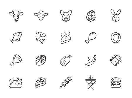 Meat and fish - minimal thin line web icon set. Outline icons collection. Simple vector illustration.