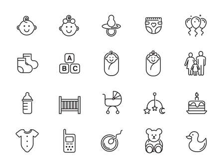 Minimal cute baby line icon set - Editable Stroke
