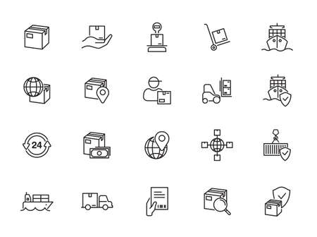 Logistics and Shipping outline icons - minimal thin line web icons set