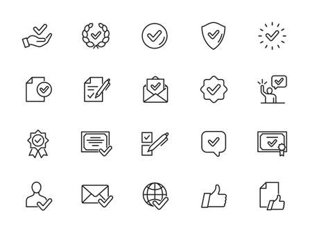 Simple Set of Approve Related Vector Line Icons. Contains such Icons as Inspector, Stamp, Check List and more. Illustration